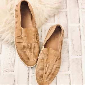 JOIE TAN LEATHER WOVEN SLIP ON SNEAKERS 9.5